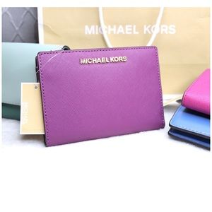 NWT Michael Kors Purple Wallet +Card Case Carryall
